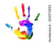 Handprint In Colors Of The...