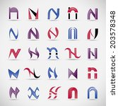 unusual letters set   isolated... | Shutterstock .eps vector #203578348