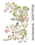birds on spring tree twigs... | Shutterstock .eps vector #203579518