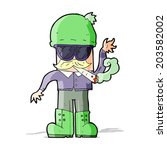 cartoon man smoking pot | Shutterstock .eps vector #203582002