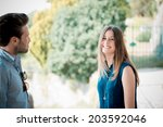 young beautiful couple lovers... | Shutterstock . vector #203592046