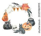 watercolor halloween wreath.... | Shutterstock . vector #2035980995