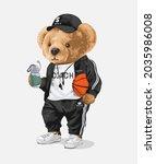cute bear doll in sport track... | Shutterstock .eps vector #2035986008