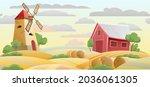 farmland. garden and rolling...   Shutterstock .eps vector #2036061305