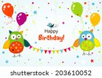 template greeting card  vector... | Shutterstock .eps vector #203610052