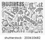 doodle business background | Shutterstock .eps vector #203610682