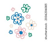 whimsical cute flower doodle... | Shutterstock .eps vector #2036206085