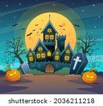 dark castle with pumpkins on... | Shutterstock .eps vector #2036211218