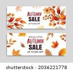 autumn sale banner template...   Shutterstock .eps vector #2036221778
