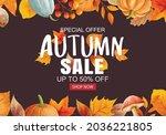 autumn sale banner template...   Shutterstock .eps vector #2036221805