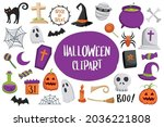 set of halloween element...   Shutterstock .eps vector #2036221808