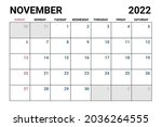 2022 november calendar vector...   Shutterstock .eps vector #2036264555