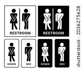 set of female male restroom...   Shutterstock .eps vector #2036275628