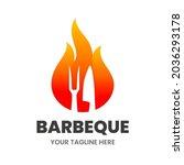 bbq logo design template. hot...   Shutterstock .eps vector #2036293178