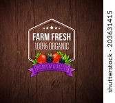 farm fresh poster. wooden... | Shutterstock .eps vector #203631415