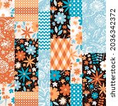 patchwork seamless pattern with ...   Shutterstock .eps vector #2036342372