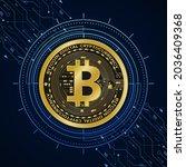 golden bitcoin digital currency ...   Shutterstock .eps vector #2036409368