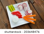 crudites with blue cheese souce ... | Shutterstock . vector #203648476