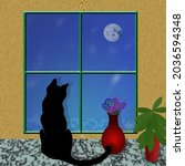 Black Cat Looks Out The Window. ...