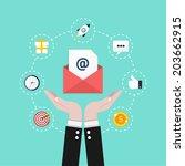 email marketing. flat design... | Shutterstock .eps vector #203662915
