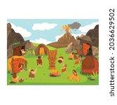 prehistoric primitive people... | Shutterstock .eps vector #2036629502