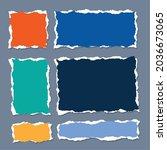 torn paper sheet set in square... | Shutterstock .eps vector #2036673065
