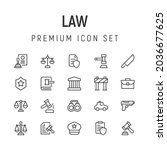 premium pack of law line icons. ...