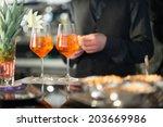 spritz aperitif with mixed nuts ... | Shutterstock . vector #203669986