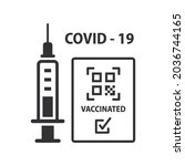 qr code vaccination covid 19... | Shutterstock .eps vector #2036744165