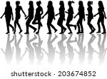 Silhouettes Of Women Reaching