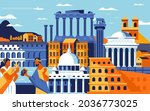 rome city colorful flat design...   Shutterstock .eps vector #2036773025