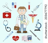 doctor character with first aid ... | Shutterstock . vector #203677792