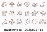 charity line icon set.... | Shutterstock .eps vector #2036818418
