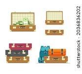 suitcase old open travel...   Shutterstock .eps vector #2036836202