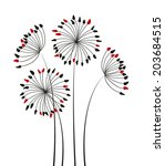 silhouette flowers on a white... | Shutterstock .eps vector #203684515