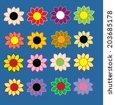 set of 16 flower icon    Shutterstock .eps vector #203685178