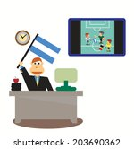 businessman with argentina flag ... | Shutterstock .eps vector #203690362