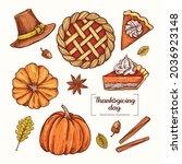 thanksgiving day in vintage...   Shutterstock .eps vector #2036923148