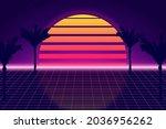 retro futuristic background... | Shutterstock .eps vector #2036956262