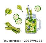 green smoothie. watercolor...   Shutterstock . vector #2036996138