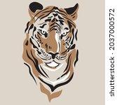tiger vector hand drown... | Shutterstock .eps vector #2037000572