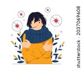 person  girl  a woman with cold ...   Shutterstock .eps vector #2037069608