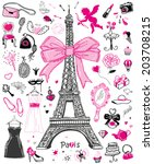 hand drawn doodle collection of ... | Shutterstock .eps vector #203708215