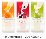 three fruit and milk banners....   Shutterstock .eps vector #203710342