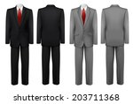 set of black and grey suits.... | Shutterstock .eps vector #203711368
