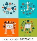 set of flat design backgrounds... | Shutterstock .eps vector #203716618