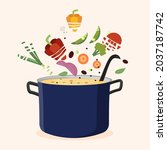 soup cooked in stainless steel... | Shutterstock .eps vector #2037187742