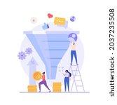 marketing team earning money... | Shutterstock .eps vector #2037235508