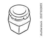 glass jar sketch. hexagonal...   Shutterstock .eps vector #2037332855