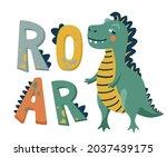 roar dinosaur vector... | Shutterstock .eps vector #2037439175